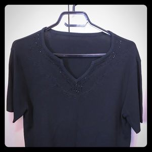 Tops - Black beaded fine knit top